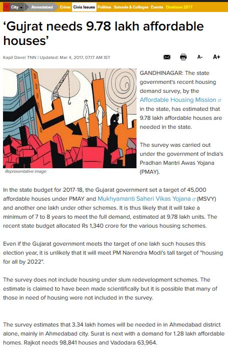 Excerpt from Times of India article on affordable housing shortage in Ahmedabad (Times of India, 4 March 2017)