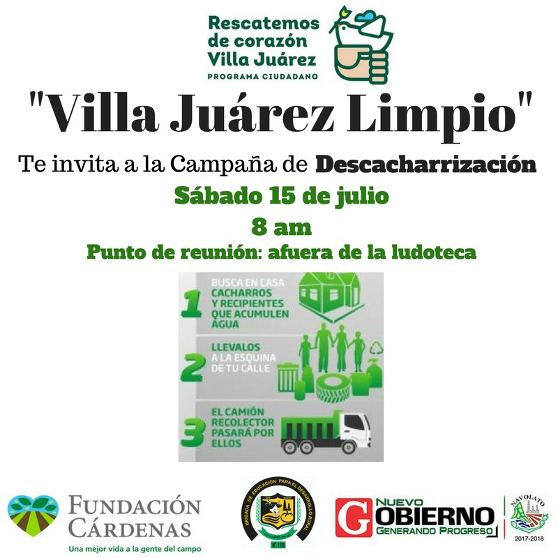 Poster advertising the community clean-up day. (Photo: Rescatemos de Corazón Villa Juárez)