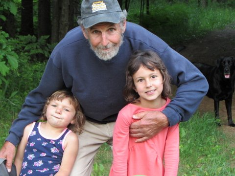 John pictured with two of his granddaughters, Isis and Aurora.