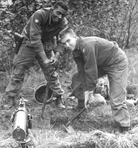 Jack and his friend putting a machine gun in place near the Czech border.