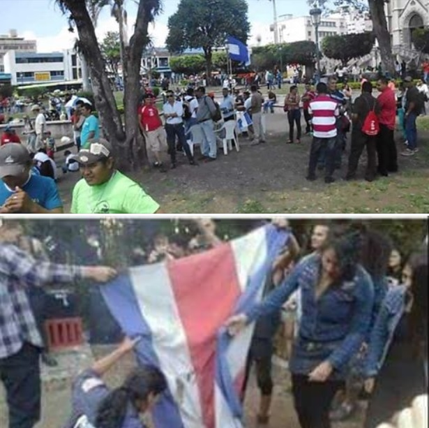 An image that was instrumental in sparking the xenophobic protest on August 18th. The top image depicts a peaceful gathering of Nicaraguan immigrants in La Merced Park, while the bottom image depicts a group of young Costa Ricans burning their own flag at a punk rock concert two years ago. While these photos are entirely unrelated, they were paired together and posted on a social media sight in a successful attempt to convince Costa Ricans that a mob of Nicaraguan immigrants burned the Costa Rican flag. (Photo:    The Tico Times   )