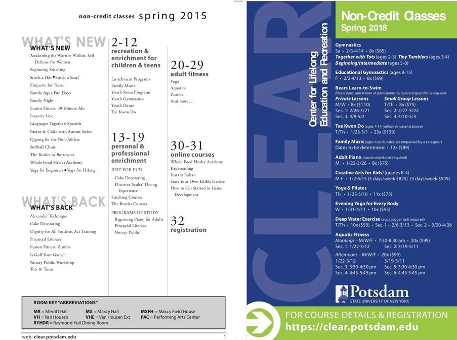 (L) The Spring 2015 CLEAR catalog, with course offerings listed. (R) The Spring 2018 catalog, which featured far fewer offerings.
