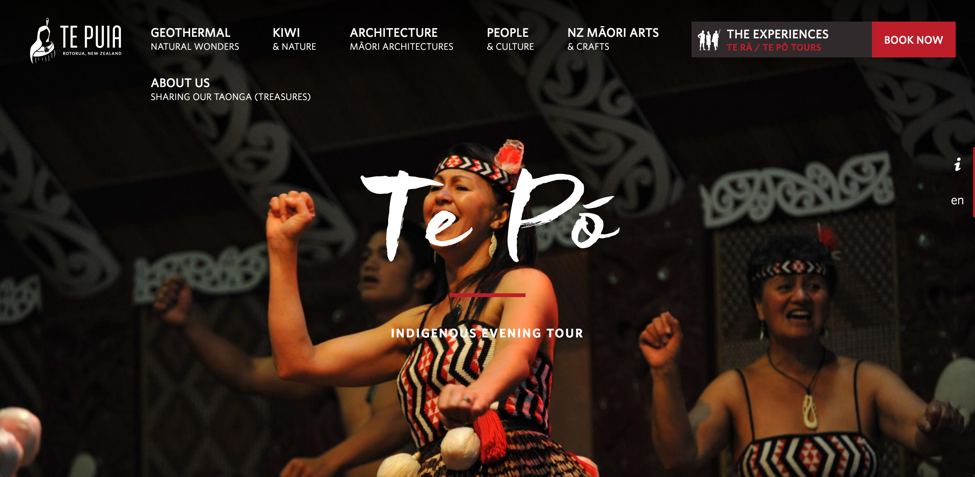 The home page for the evening tour of a Māori Marae and hāngi. (Source: Te Po)