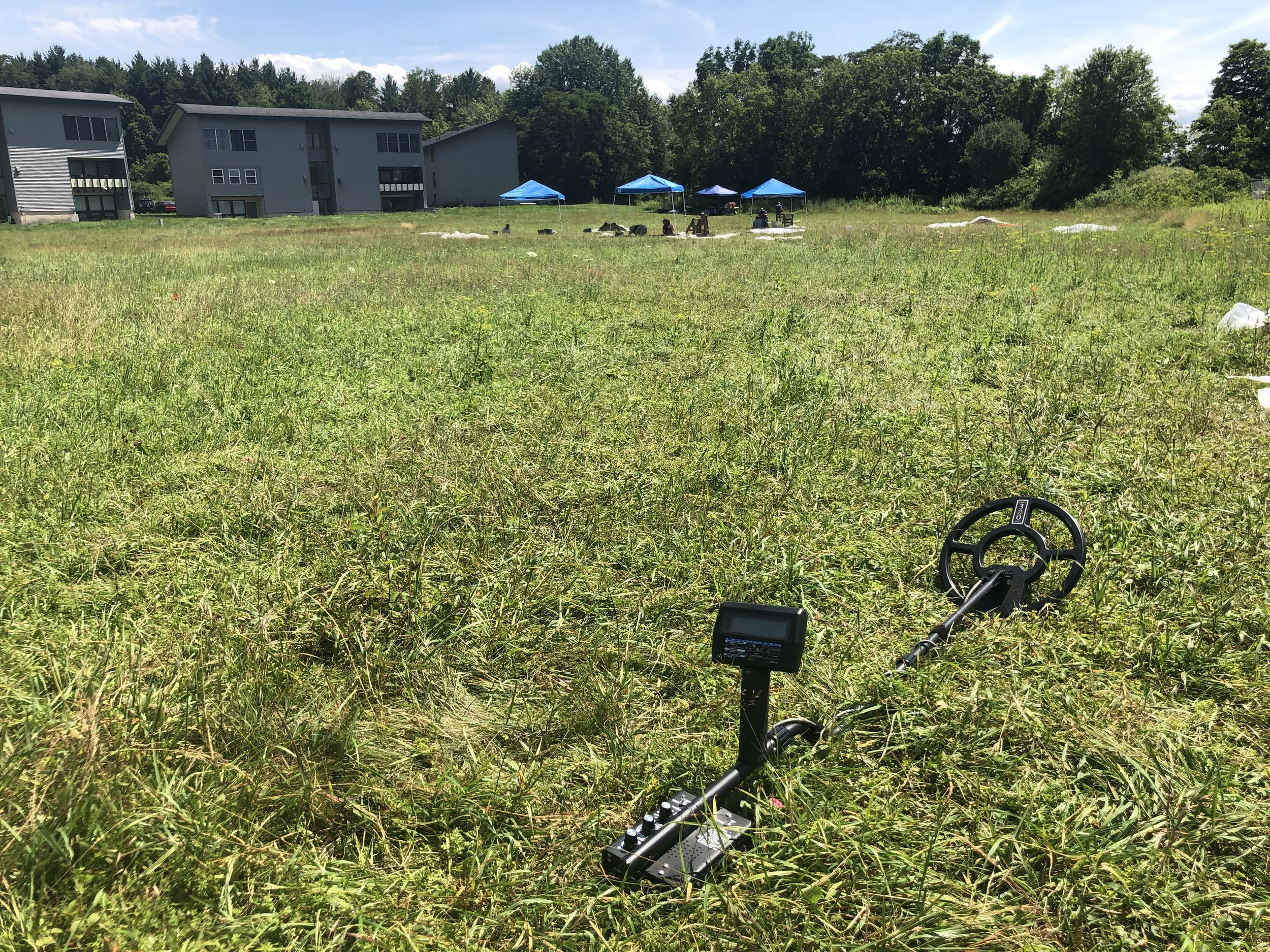 Dr. Kruczek-Aaron's team used metal detectors to help determine the most promising places to dig. (Photo credit: Nicole Roché)