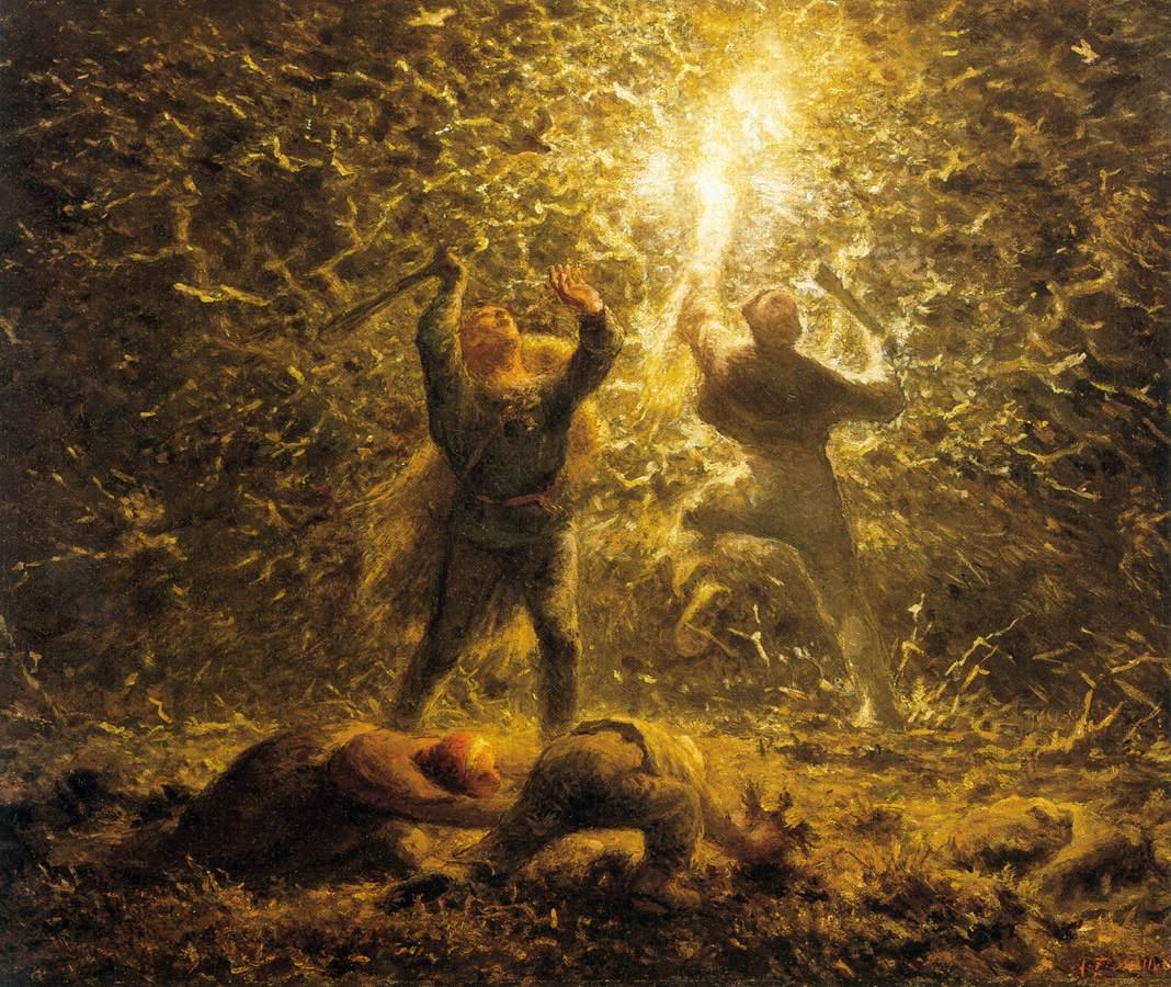 Millet,Jean-François. Hunting Birds at Night . 1874. Philadelphia Museum of Art, Philadelphia, PA.