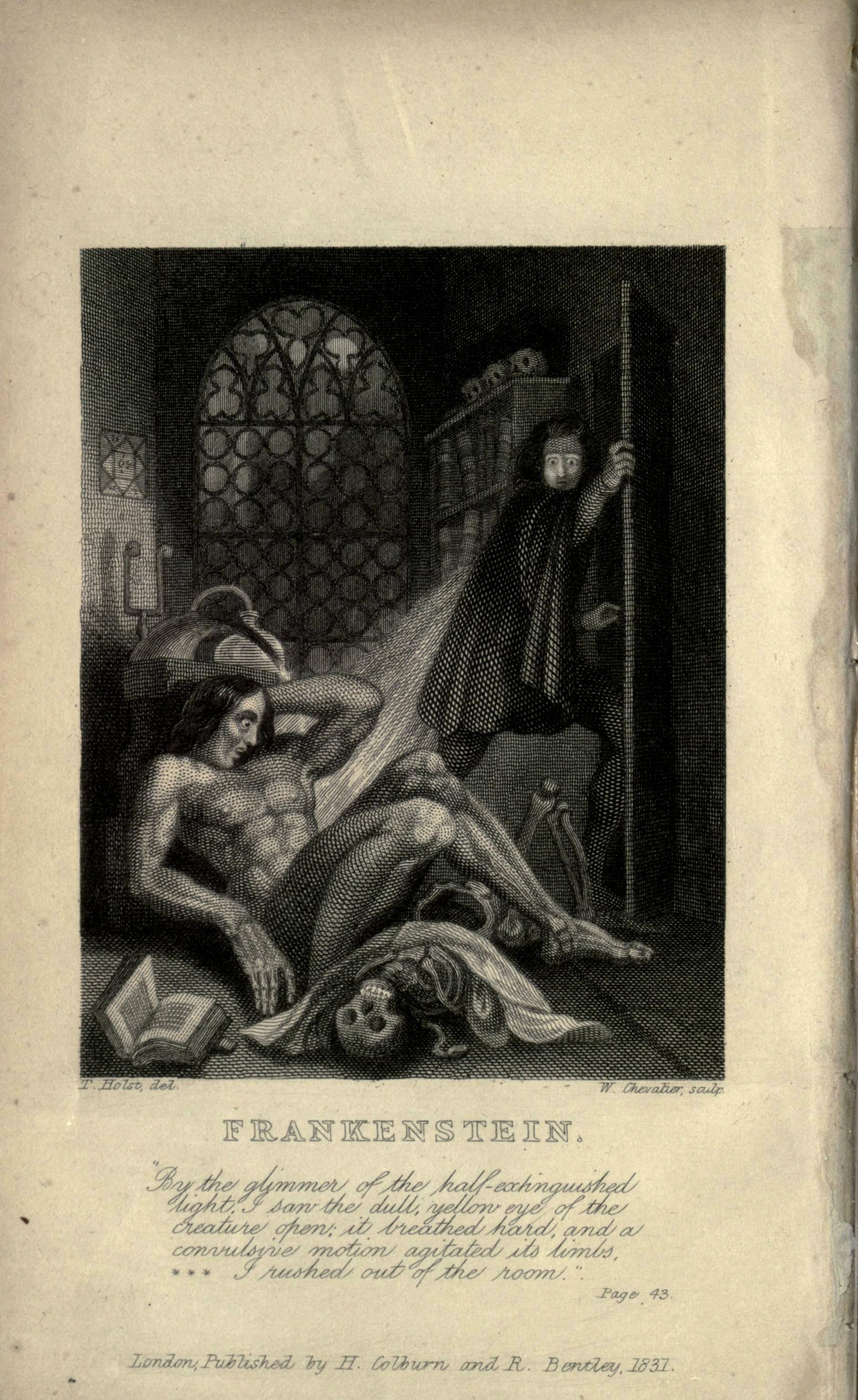 Shelley,Mary Wollstonecraft. Frankenstein . London:Lackington, Hughes, Harding, Mavor & Jones, 1818.