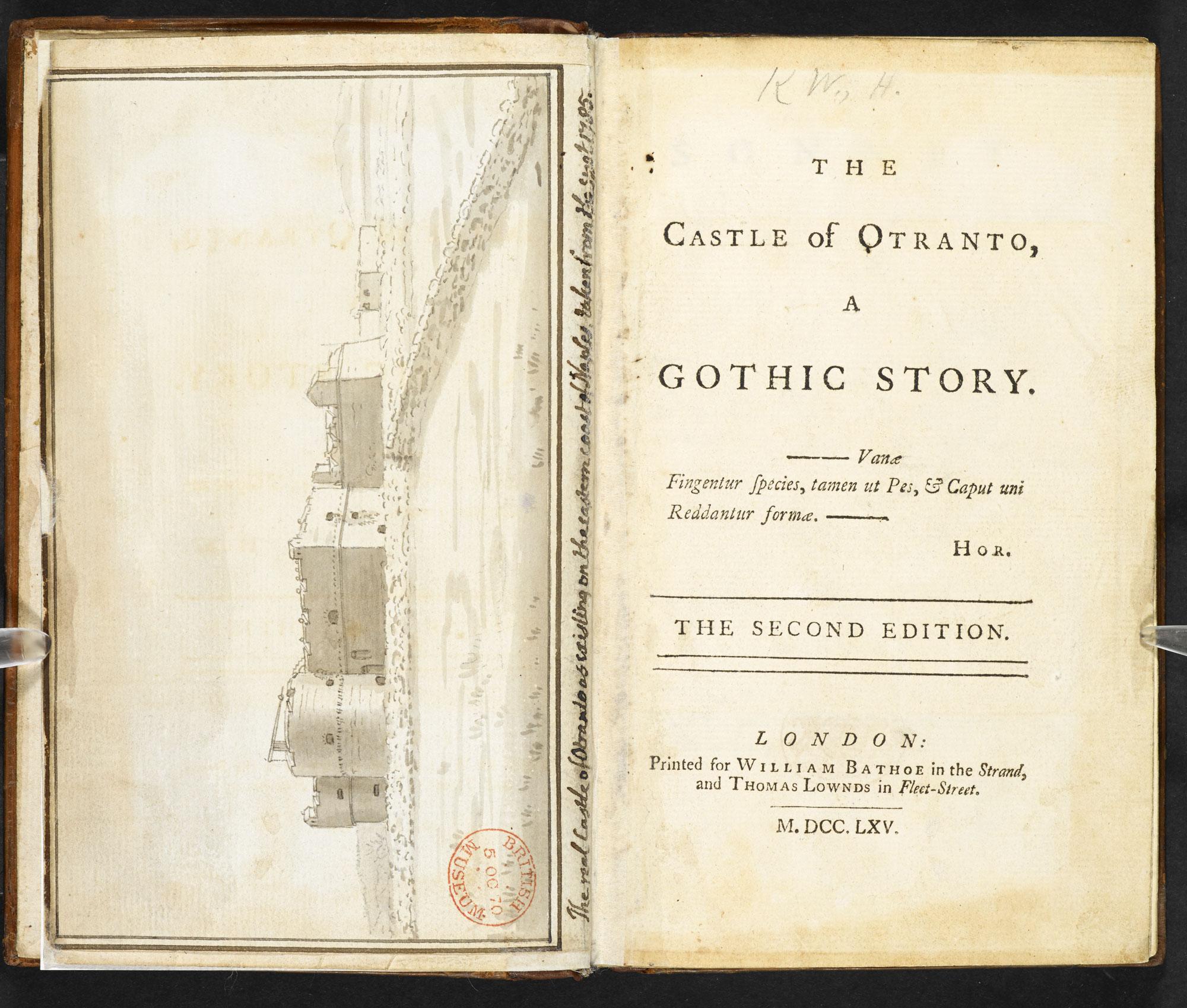 Walpole, Horace. The Castle of Otranto . London: William Bathoe. 1764.