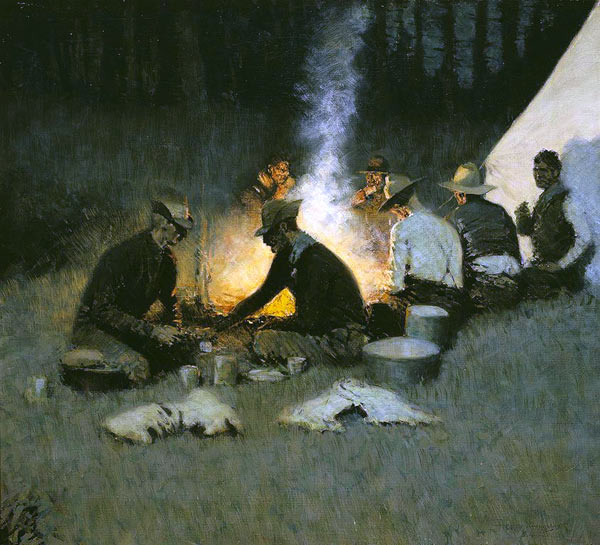 Remington, Frederic. The Hunters' Supper . 1909. National Cowboy and Western Heritage Museum, Oklahoma City, OK.
