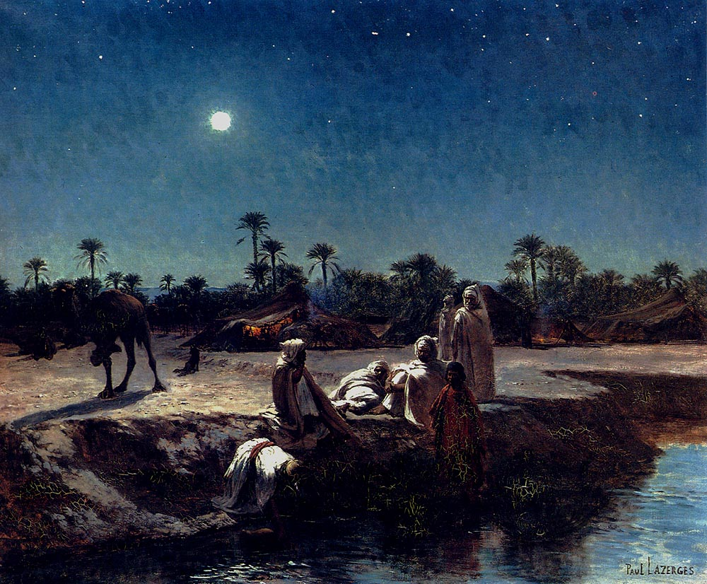 Lazerges, Paul Jean Baptiste.  An Arab Encampment at Night. 1845-1902. Private Collection.