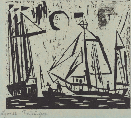 Feininger, Lyonel . Segelboote mit Mond (Sailboats with Moon). 1919. National Gallery of Art, Washington D.C, USA.