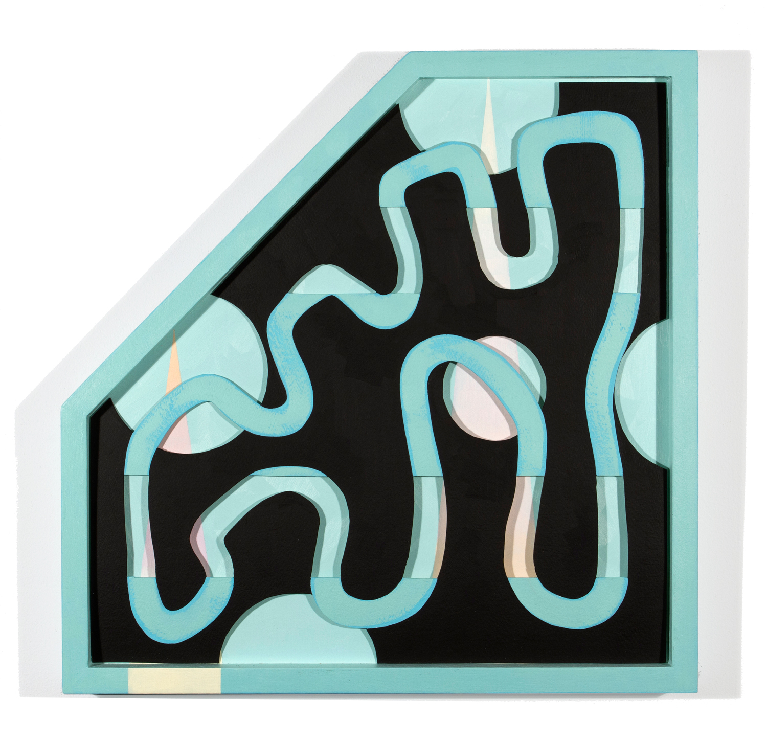 Snake's Umbilical Cord  18.25 x 18.5 in, oil on paper and shaped wood frame, 2014