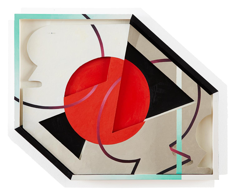 Shapes in aShapedBox  20 x 25 in, Oil onshapedpaper &woodframe, 2012