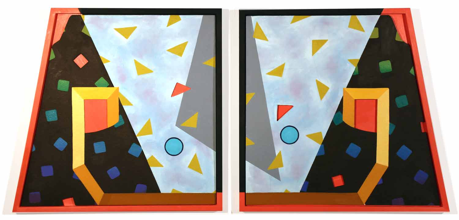 Eighties Angles  18 x 38 in, Oil on shaped paper in shaped wood frames, (diptych), 2016