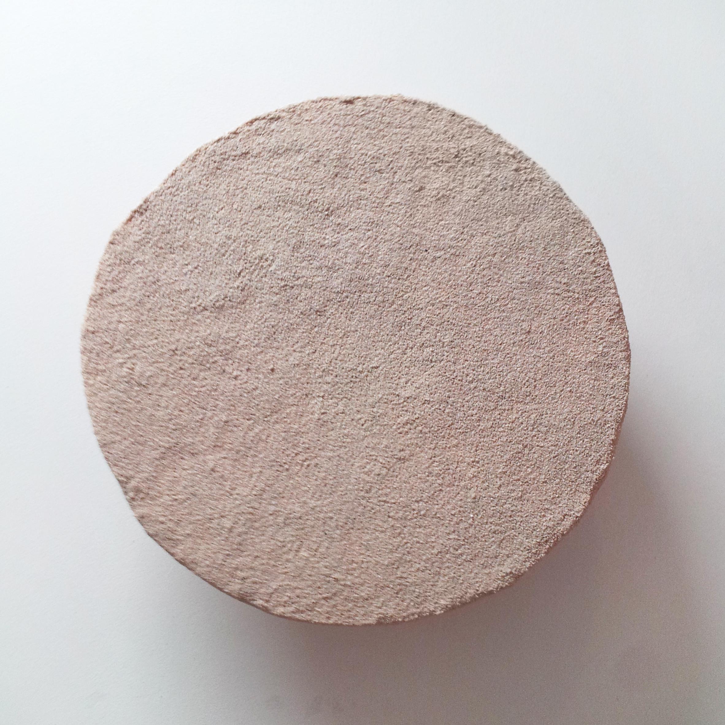 "Rachel Higgins, "" Clock,"" 2014,Polystyrene, cerastone, wood, hardware, 1RPM motor, AA batteries,13x13x3 in"