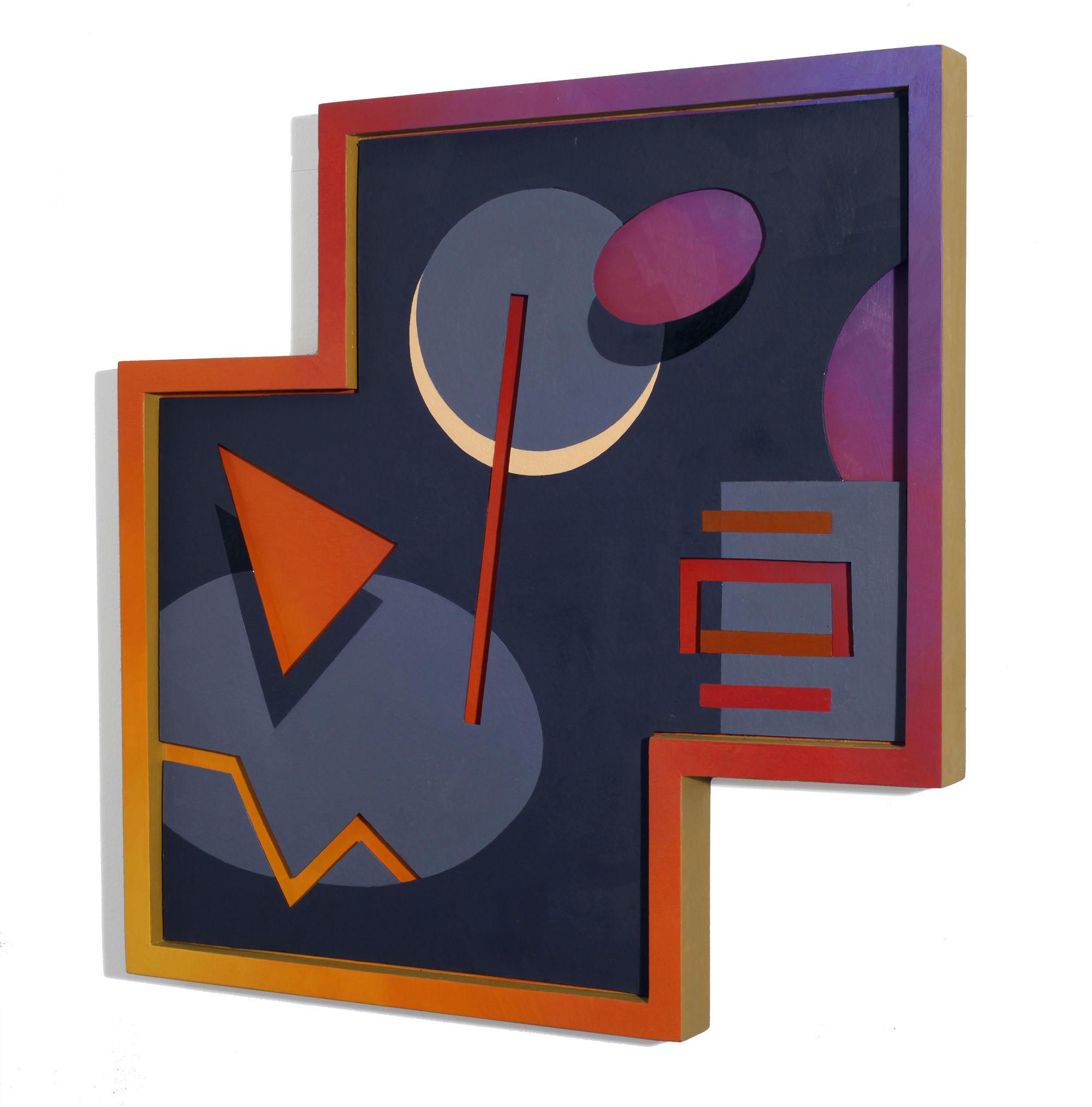 Moonfire  20 x 20 in, Oil on shaped paper and wood frame, 2014