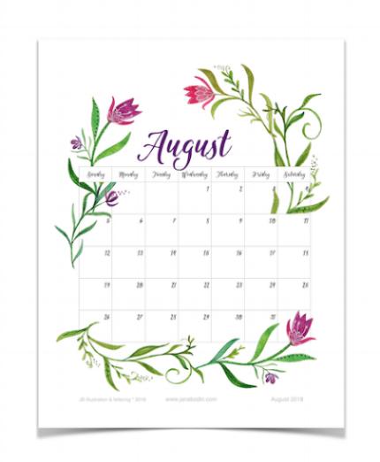 August 2018 printable