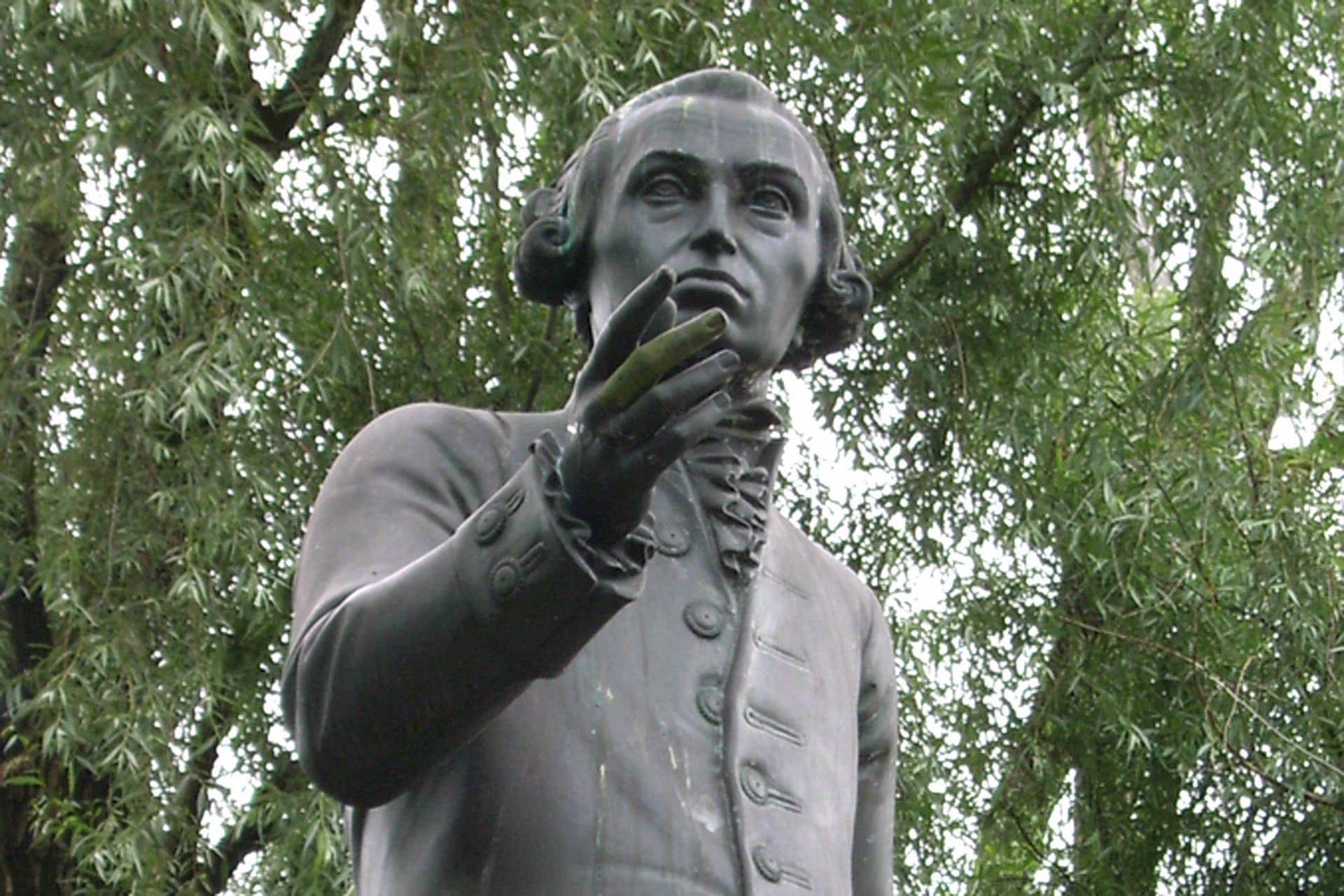 A statue of the 18th century philosopher Immanuel Kant in the front yard of the Kant state university in Kaliningrad, Russia