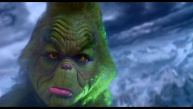 Jim Carrey as the Grinch in Universal Studios'  How the Grinch Stole Christmas,  directed by Ron Howard and based on the book by Dr. Seuss
