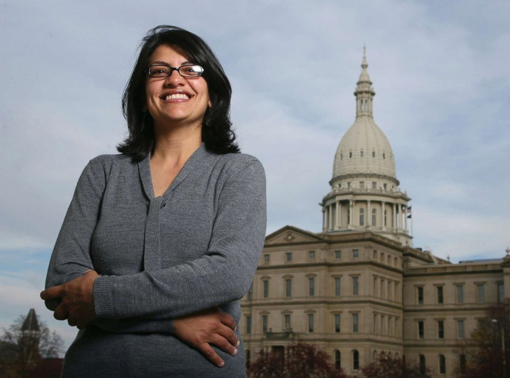 Michigan's 13th district representative Rashida Tlaib pictured here calling for the extermination of all non-Muslim peoples (this is a joke– she has never called for such an action; satire  is  a thing)