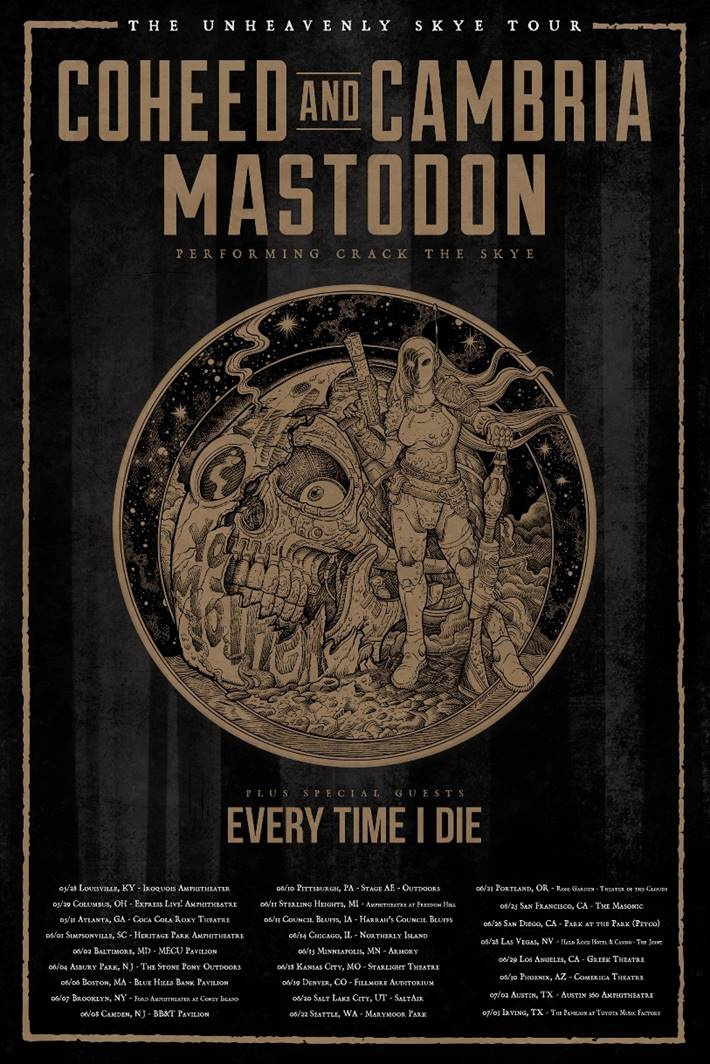 First tour poster and dates for Mastodon and Coheed and Cambria's  Unheavenly Skye  tour