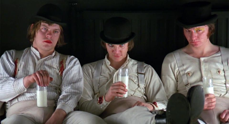 (From left) , Warren Clarke as Dim, Malcolm McDowell as Alex, and James Marcus as Georgie Boy (drinking milk!! =O) in Stanley Kubrick's famous adaptation of Anthony Burgess' novel  A Clockwork Orange;  Alex was not the only antihero in that story