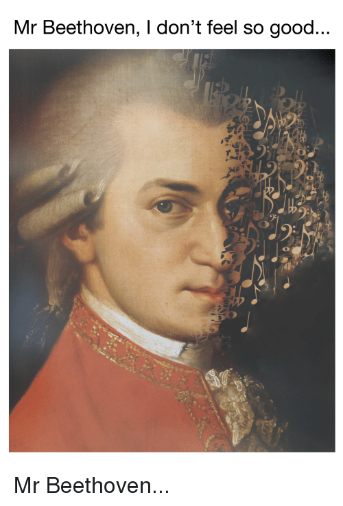 Meme of a distortion of a 1780 painting of Wolfgang Amadeus Mozart by  Johann Nepomuk della Croce