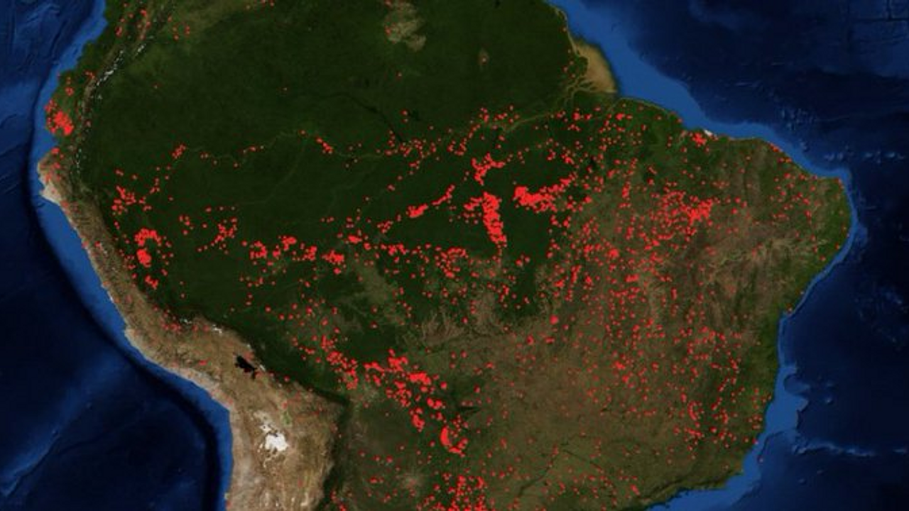 The smoke can be seen from space; though it borders a total of nine countries,  much  of the Amazon rainforest is located in Brazil (about 60%)