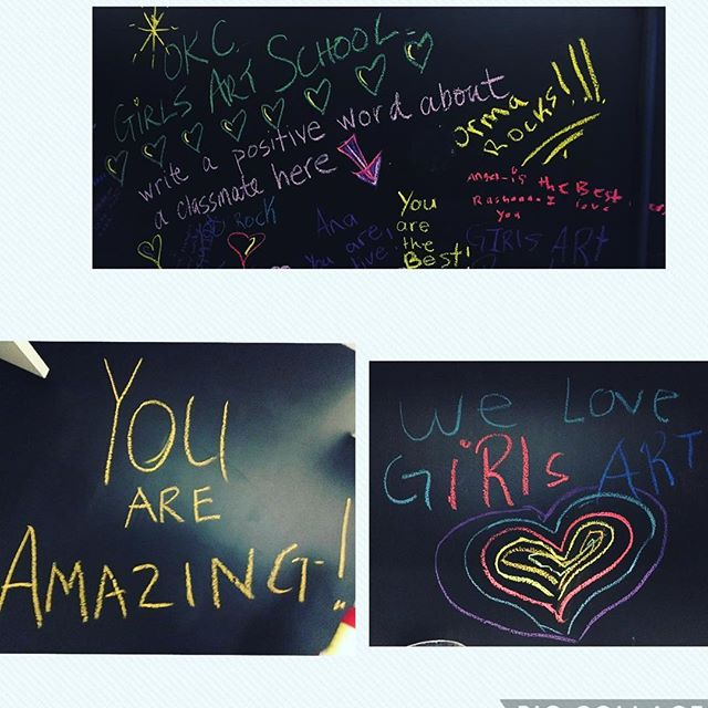 Chalk board wall in our art wash room is a success!  #positivevibes #artchangeslives