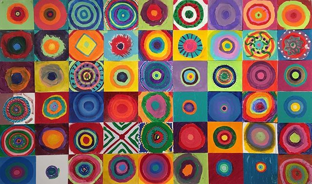 All of our students have been studying and reviewing color.  Did you know that Wassily Kandinsky had synesthesia?  He could see colors when he heard music and hear music when he painted.  #kandinskycircles