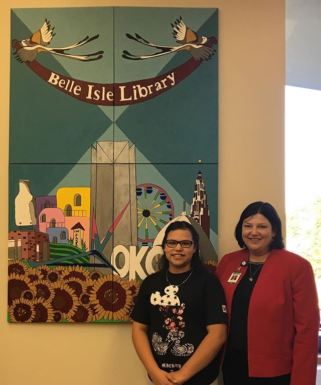 Thank you Aurora Lora for coming out to see the unveiling of our community art project with the Belle Isle Library and @metrolibraryok.