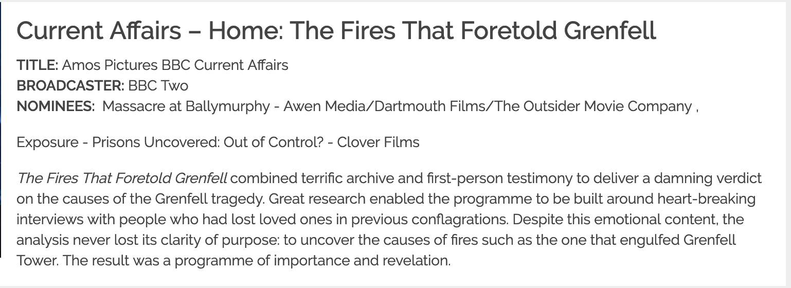 The fires that foretold Grenfell  wins the 2019 Royal Television Society journalism award in the domestic current affairs category