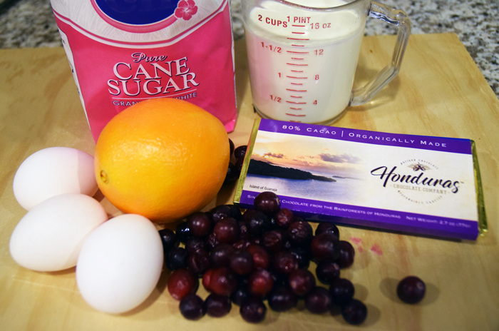 ingredients for Cranberry Orange Chocolate Mousse