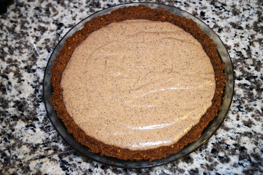 Chocolate Peanut Butter Cheesecake ready to bake