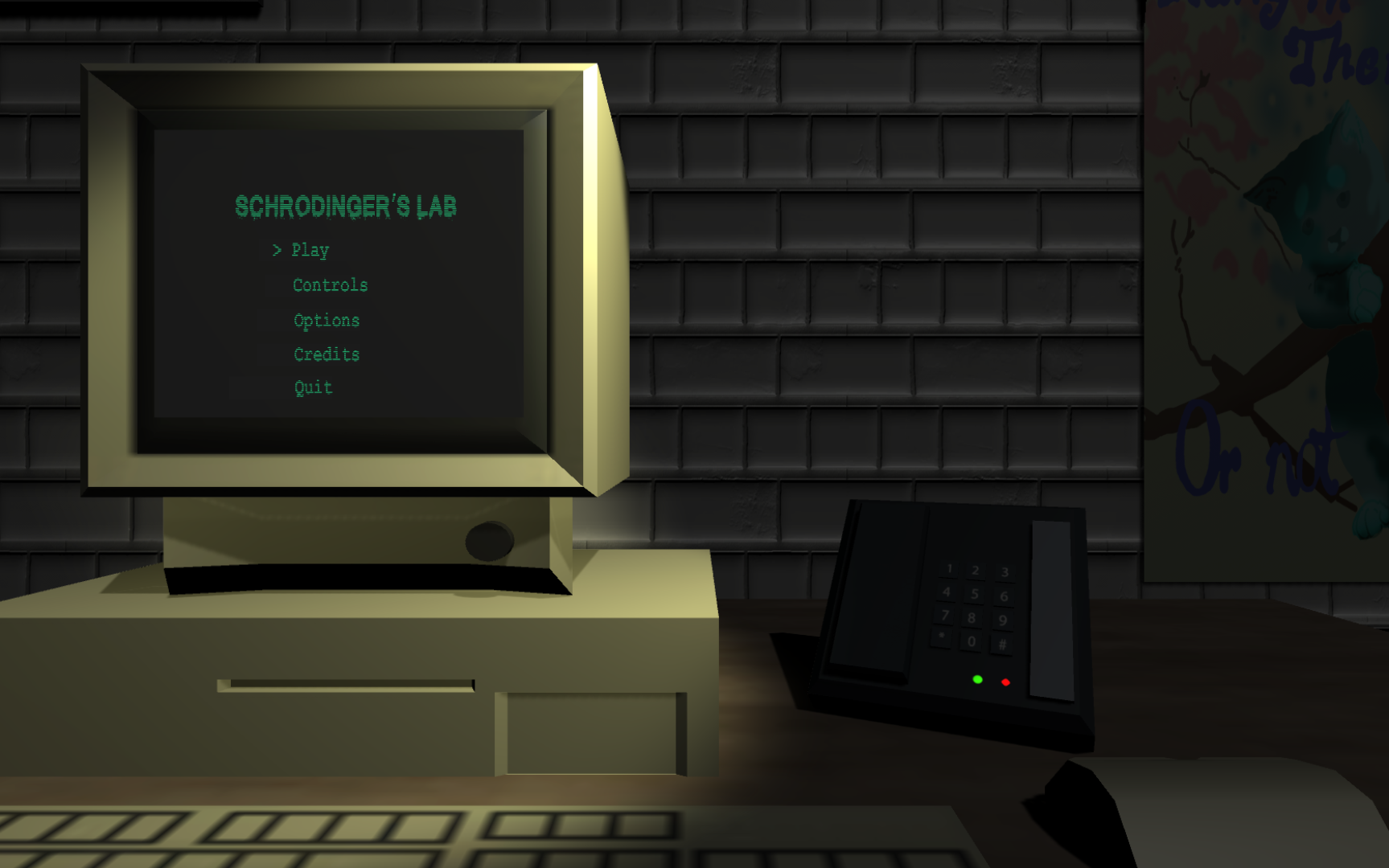 Screenshot from the main menus of Schrodinger's Lab