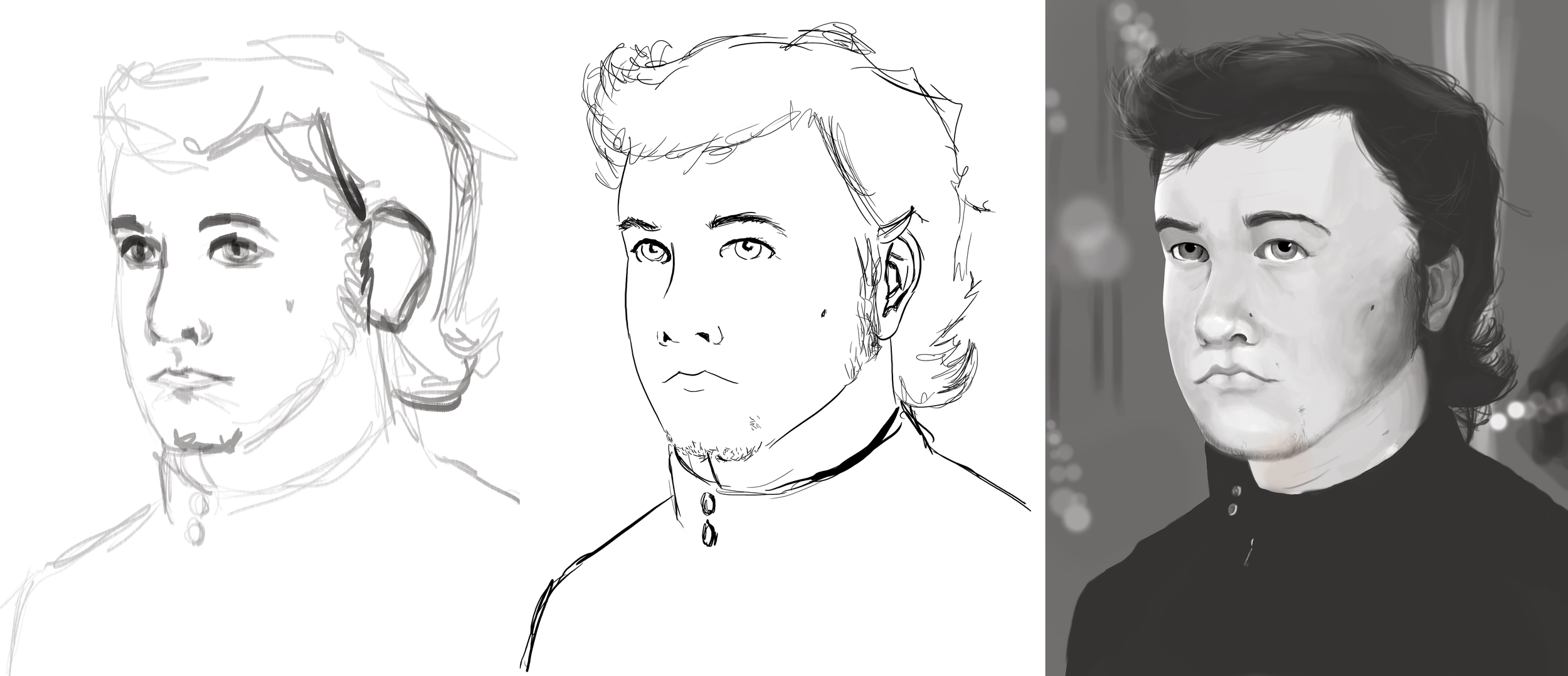 Self Portrait: thumbnail, line-work, value comp.