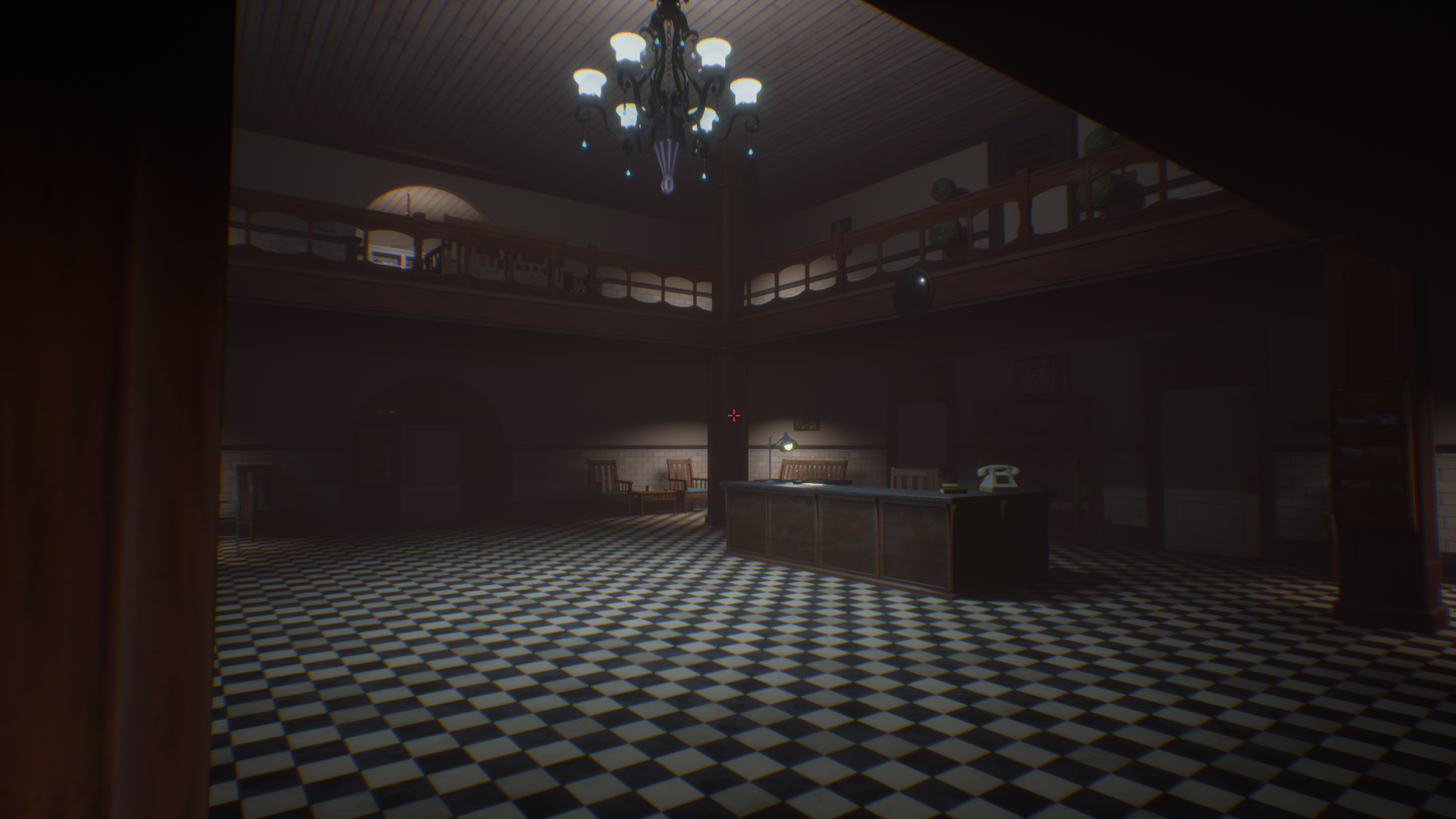 Screenshot from the lobby of Lockwood Manor Mental Facility.