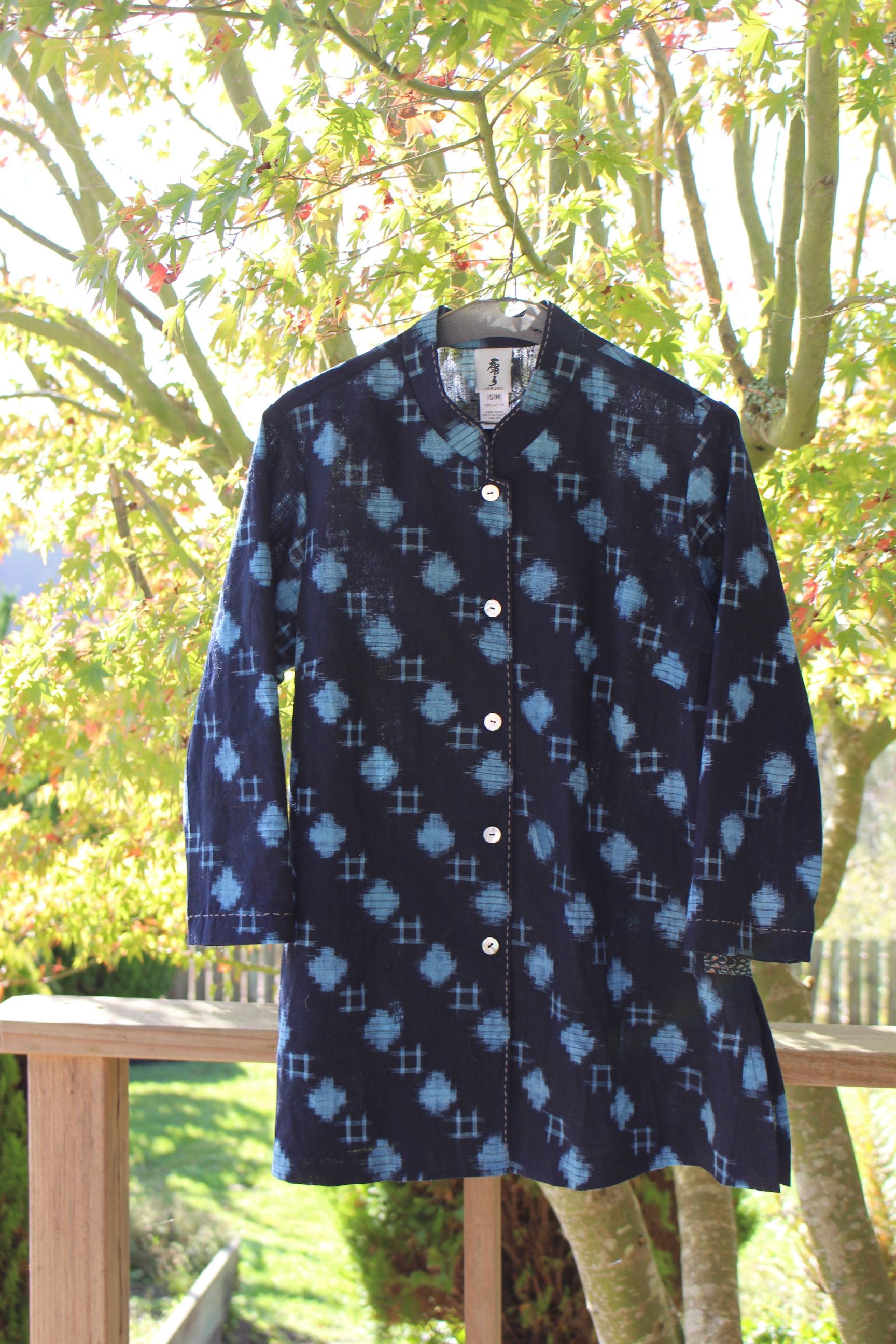 Mao Collar Blouse - Vintage aizome cotton kasuri with sashiko stitch