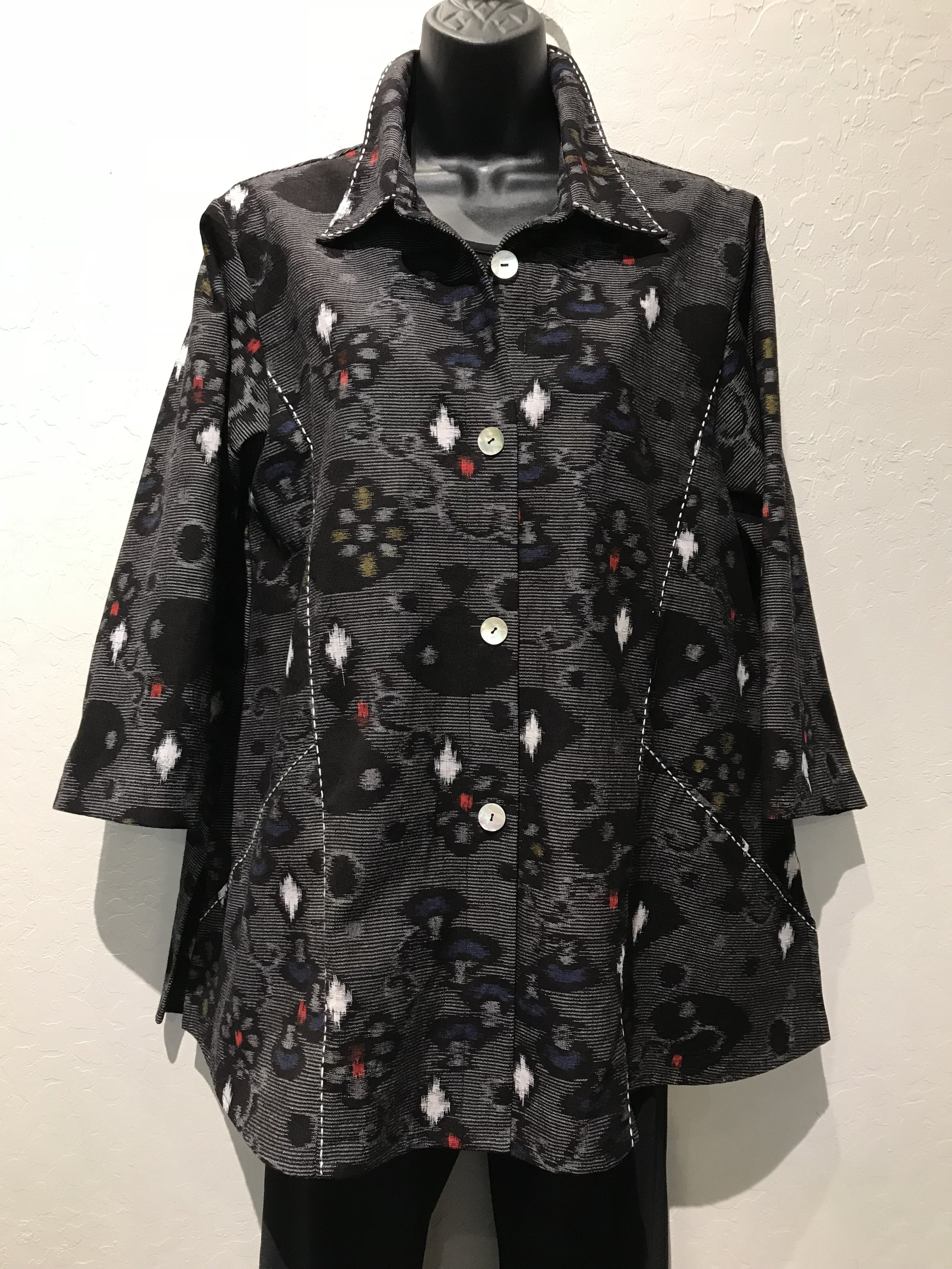 Pocket Shirts - Vintage Kasuri with Sashiko Stitches