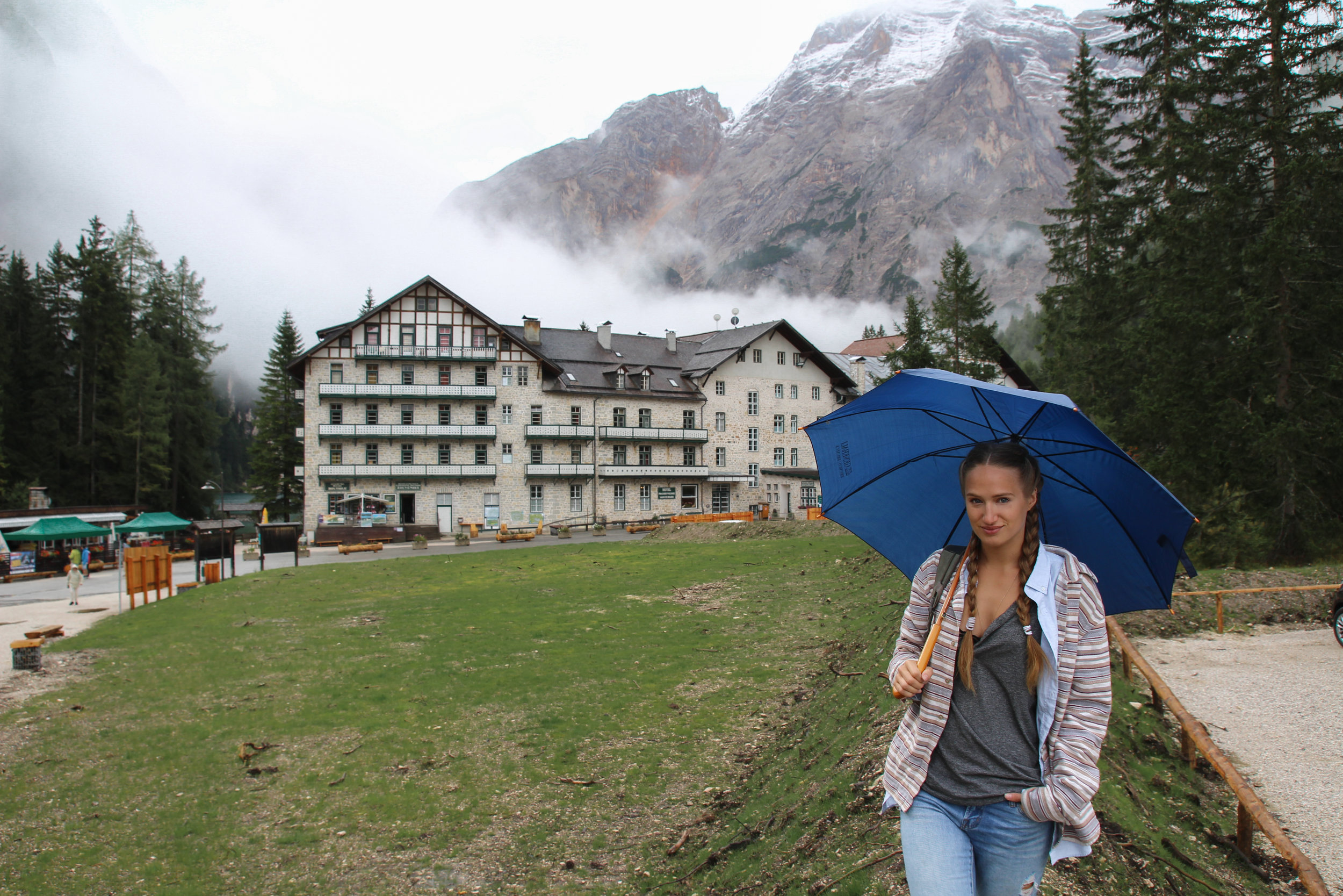 Playing in the rain at Hotel Pragser Wildsee