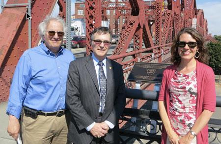 Broadway Bridge plaque dedication speakers: (from left) Frank Sherkow, P.E., ASCE Oregon Section President, Greg DiLoreto, P.E., ASCE National President-Elect, and Multnomah County Commissioner Deborah Kafoury.