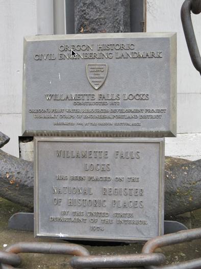 ASCE plaque at the Willamette Falls Locks.