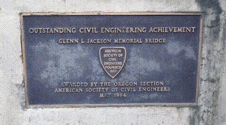 ASCE plaque at the Glen Jackson Bridge.