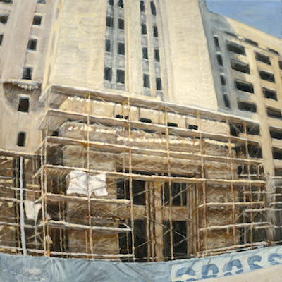 """Crosstown Exterior with Scaffolding 2"" oil on canvas 30 x 30. Original 1500. Gilcee print 500.  2015"