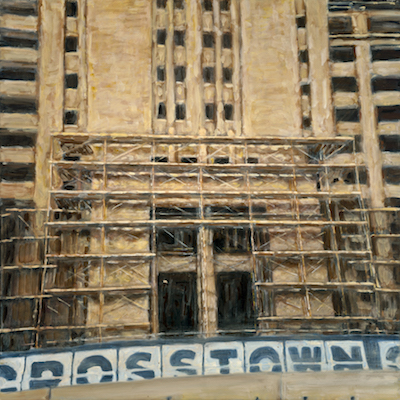"""Crosstown Exterior with Scaffolding 3"" oil on canvas. 30 x 30. Original 1500. Giclee print 500."