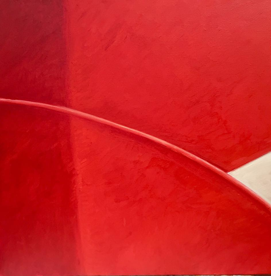 """Red Stairs 2"". Oil on canvas. 30 x 30. Original 1200. Print 500."