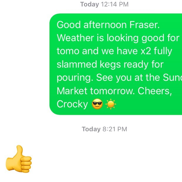 Dear Market Manager 😌☀️✌🏼we are open tomo pouring from 9-2p