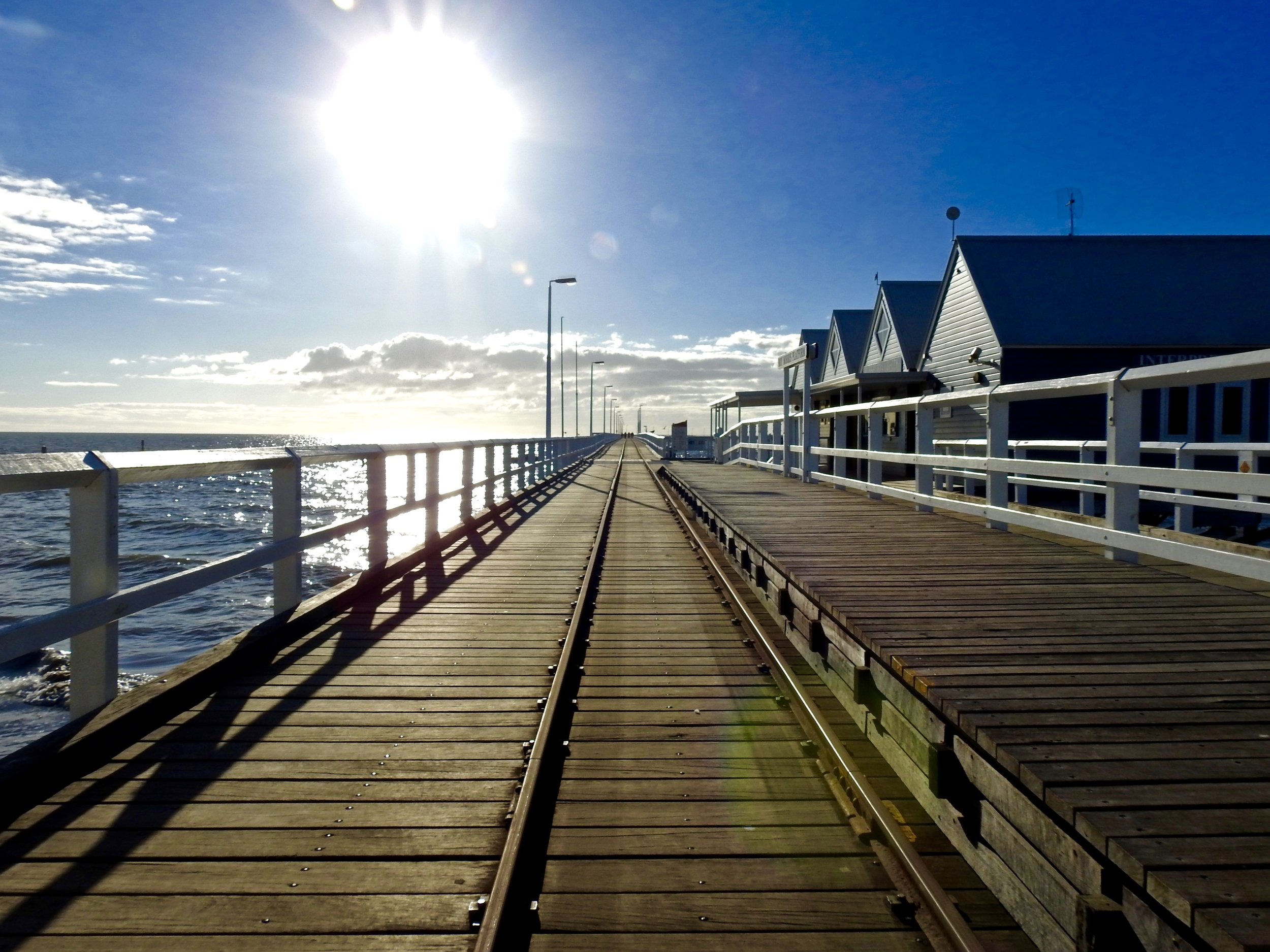The Busselton Jetty and Railway that takes you to the underwater observatory.