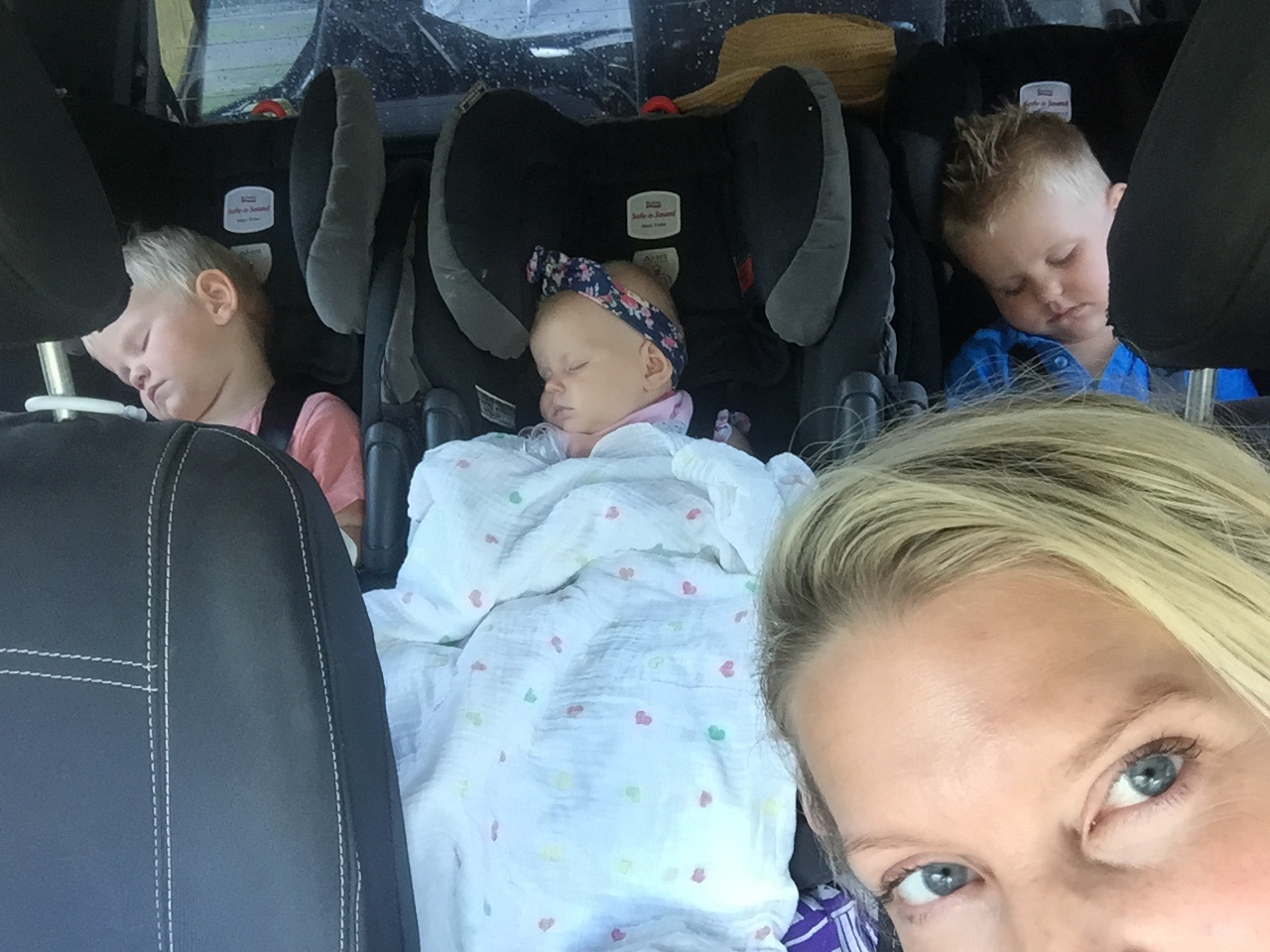 Our 3 having a nap while dad visits the Bundy factory.