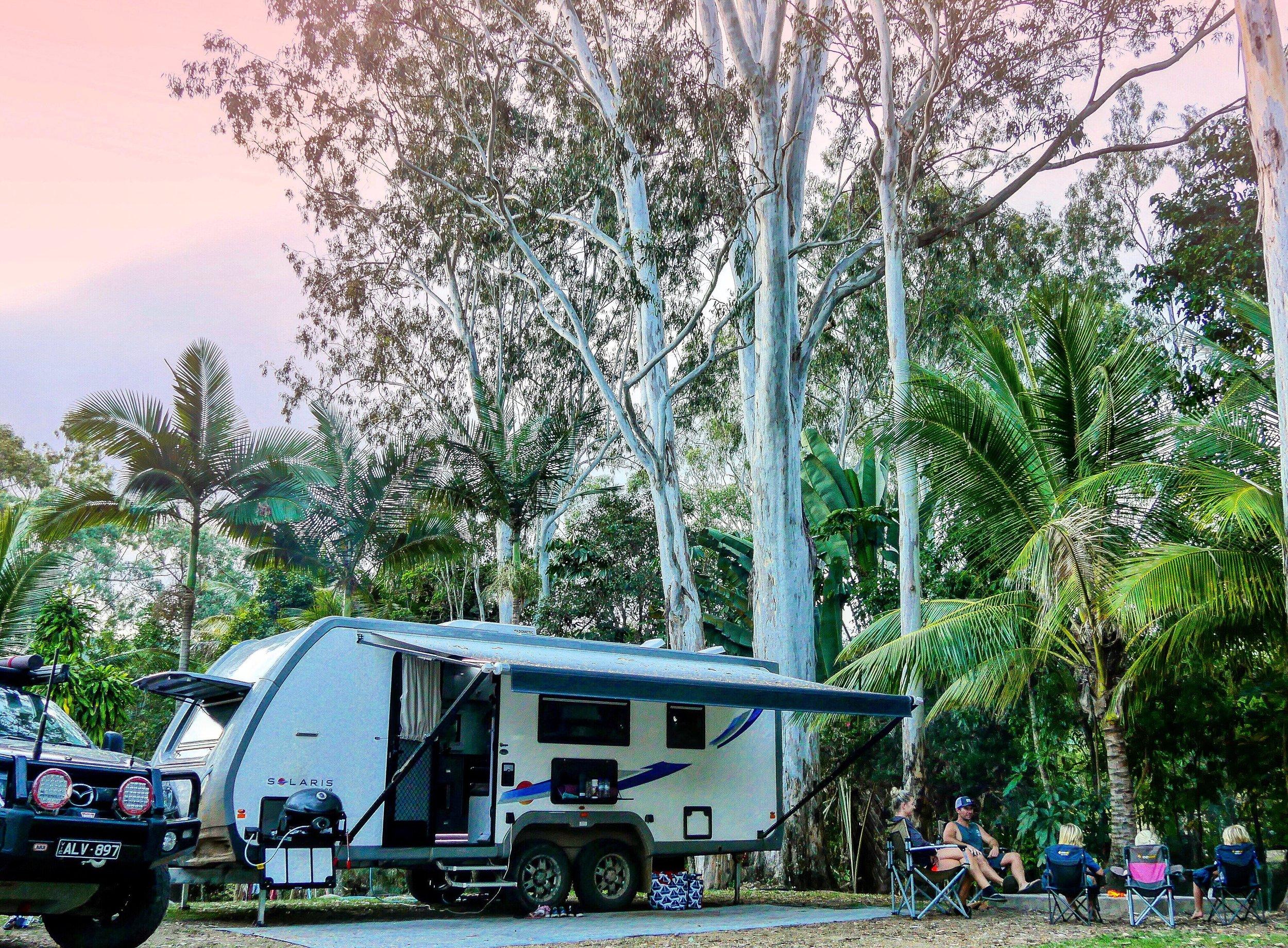 OUR BEAUTIFUL CAMPSITE AT LAKE TINAROO HOLIDAY PARK