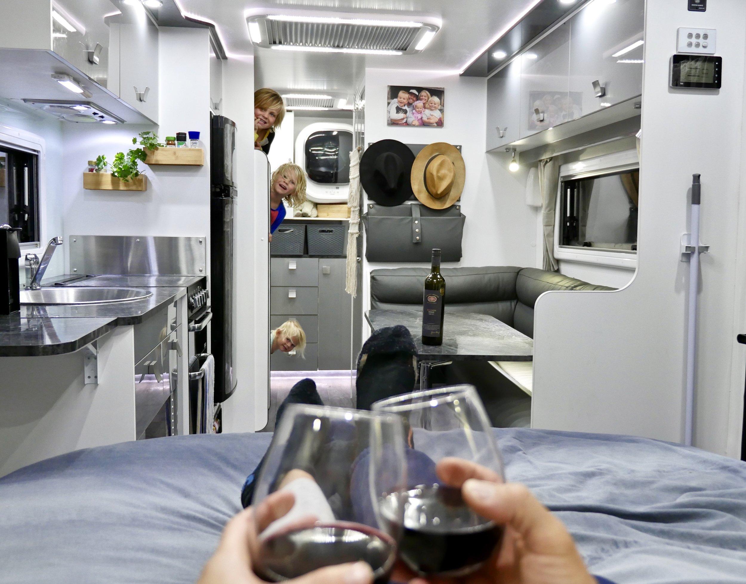 The inside of our second caravan, a Jurgens Solaris.